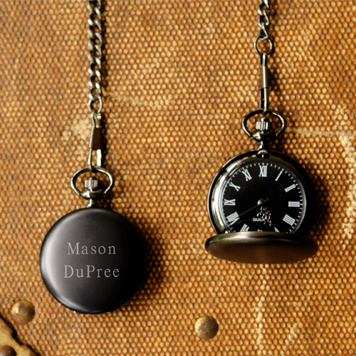 Personalized Midnight Pocket Watch wedding favors