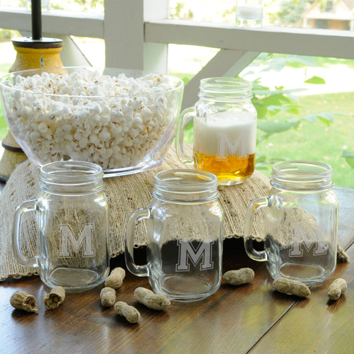 Personalized Collegiate Jar Glass Set(Set of 4) wedding favors