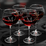 Set of 4 18oz Personalized Red Wine Glasses cheap favors