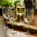 Set of 4 Personalized 19oz White Wine Glasses cheap favors
