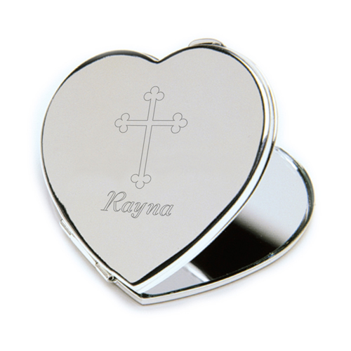 Inspirational Heart Compact Mirror with Engraved Cros wedding favors