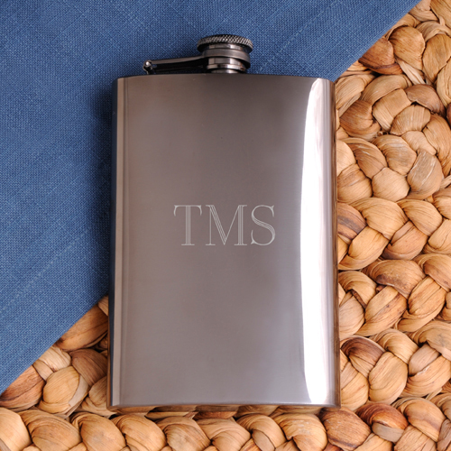 Personalized Rich Gunmetal Flask wedding favors