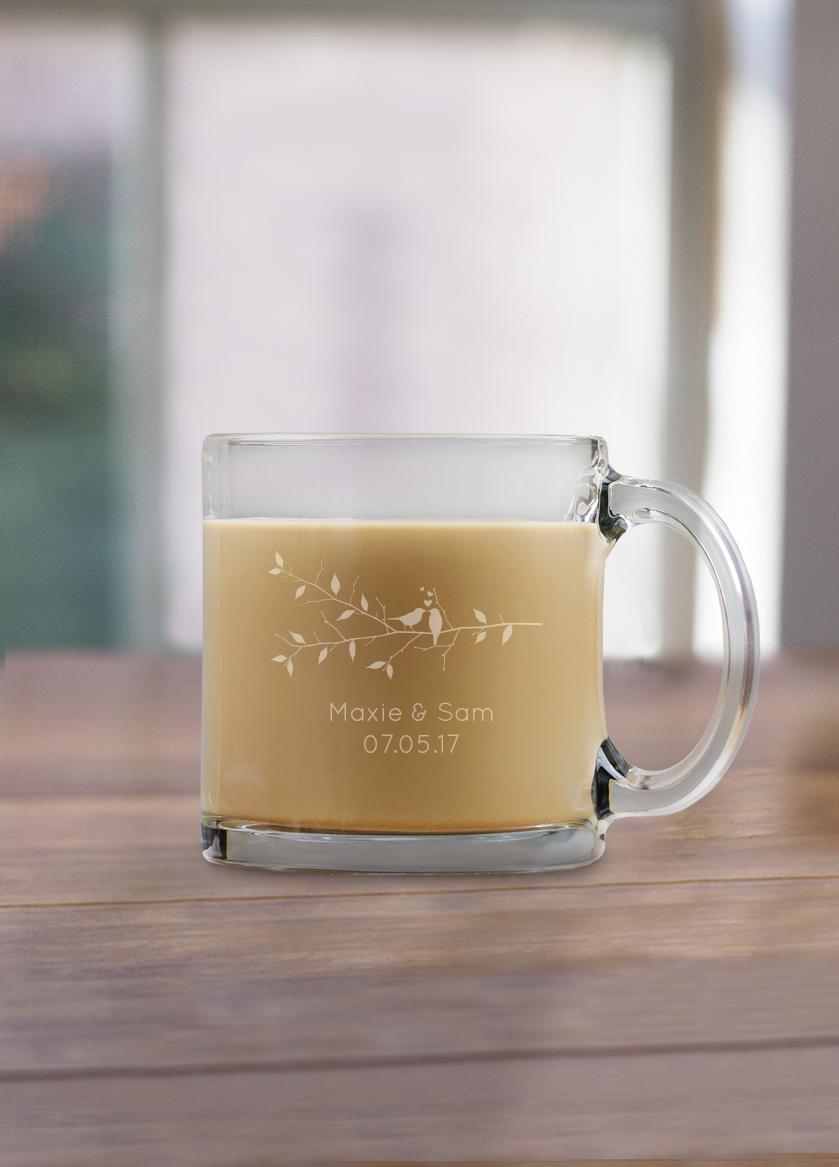 Engraved Wedding Coffee Mugs : Engraved 13 oz Coffee Mug Glass Favors wedding favors