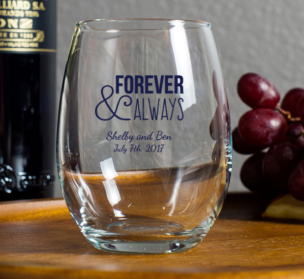 Personalized 9 oz Stemless Wine Glass Wedding Favor