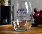 Personalized 9 oz Stemless Wine Glass Wedding Favor cheap favors