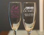 Personalized Champagne Flute With Twisted Stem wedding favors