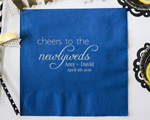 Cheers to the Newlyweds Personalized Wedding Napkin-Beverage Napkin cheap favors