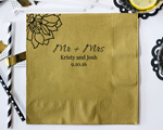 Flower Mr and Mrs Design Personalized Napkin-Beverage Napkin cheap favors