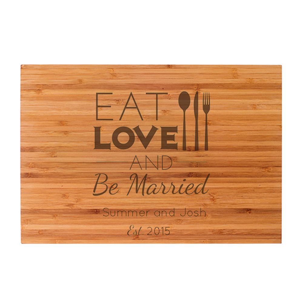 Personalized Eat Love Be Married Bamboo Cutting Board  cheap favors
