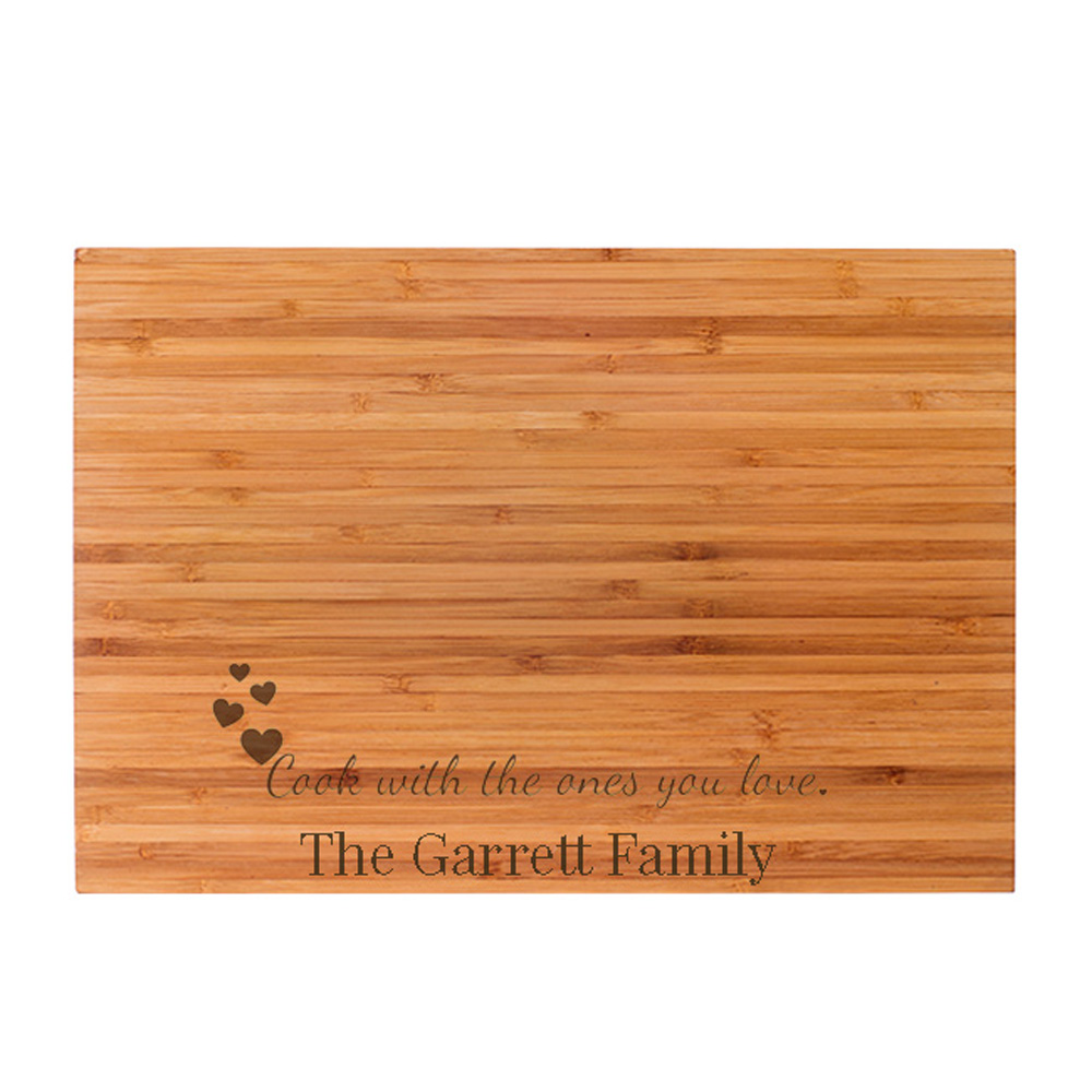 Personalized Cook with the Ones You Love Engraved Bamboo Cutting Board cheap favors