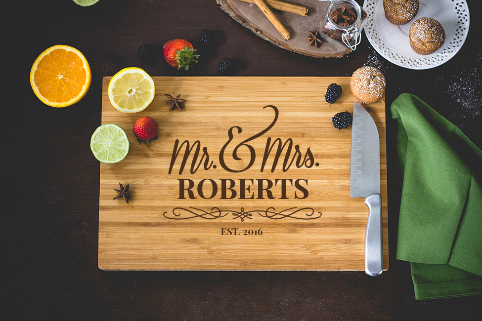 Personalized Mr. & Mrs. Cutting Board wedding favors