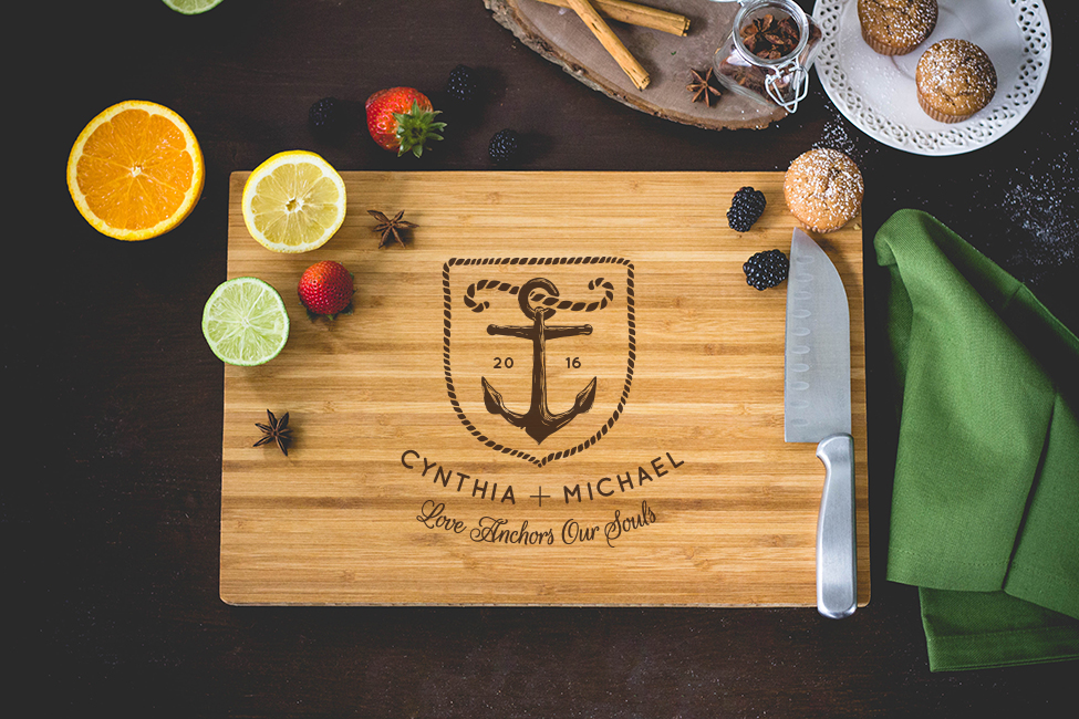 Personalized Love Anchor Cutting Board wedding favors