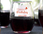 Happy Birthday Personalized Stemless Wine Glasses 9oz Birthday Favors cheap favors