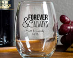 Forever and Always Personalzied Wine Glass 9oz Wedding Favor cheap favors