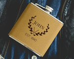 Personalized Tan Flask-Golf Design cheap favors