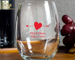 Arrow Heart Personalized Wedding Wine Glass 9oz Unique Wedding Favors cheap favors