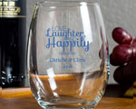 Love Laughter and Happily Ever After Custom Wine Glass 9oz cheap favors