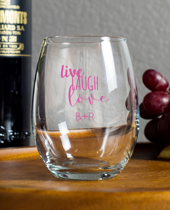 Live laugh love personalized stemless wine glasses 9oz wedding favors - Stemless wine goblets ...