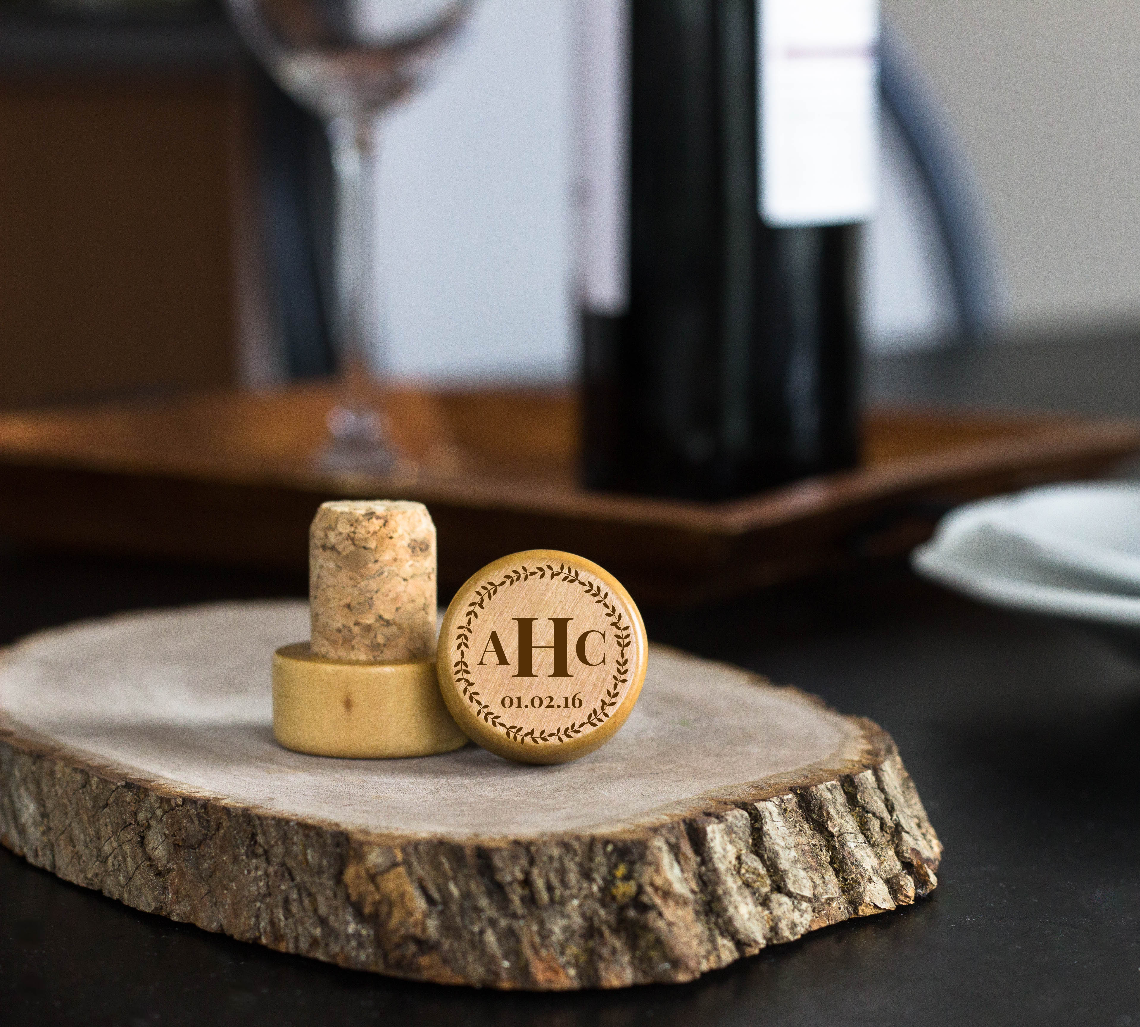 Wreath Monogram Personalized Engraved Wine Stopper cheap favors