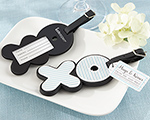 """Hugs & Kisses From Mr. & Mrs."" Love-Filled Luggage Tag cheap favors"