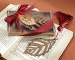 """Turning Leaves"" Bookmark with Burgundy Silk Tassel cheap favors"