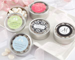 """Simply Sweet"" Round, Personalized Candy Tin - Wedding cheap favors"