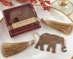 """Lucky Elephant"" Metal Bookmark with Elegant Gold Silk Tassel cheap favors"
