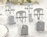 Miniature Silver Chair Favor Box w/  Heart Charm & Ribbon (Can be Monogrammed) cheap favors
