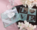 """Clearly in Love"" LOVE Glass Coasters (Set of 2) cheap favors"