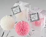 Rose Ball Candle in Gift Box with Matching Bow and Tag cheap favors