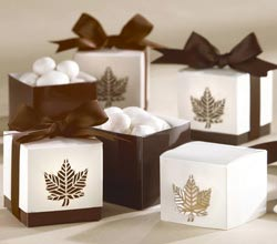 """Autumn Elegance"" Laser-Cut Fall Leaf Favor Box cheap favors"