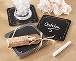 """Sip and Scribble"" Chalkboard Set of 4 Coasters cheap favors"