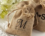 """Rustic Renaissance"" Burlap Favor Bag with Drawstring Tie - Available Personalized cheap favors"