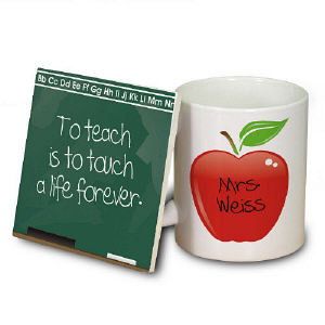 Chalkboard Teacher Personalized Mug and Coaster Set cheap favors