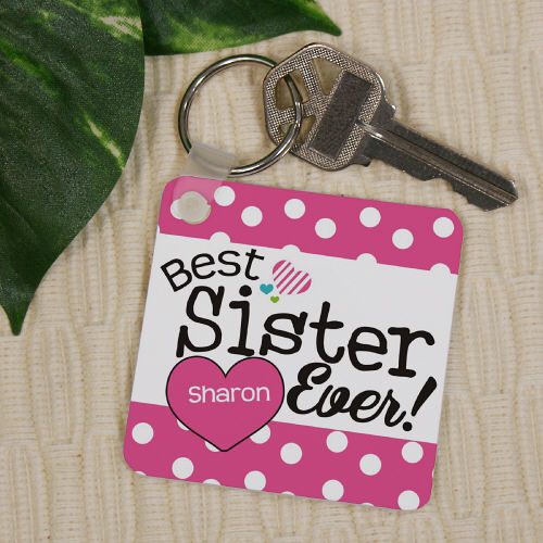 Personalized Best Sister Ever Key Chain wedding favors