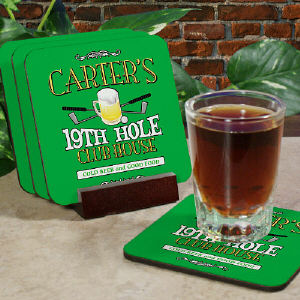 19th Hole Golf Personalized Coaster Set cheap favors