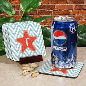 Personalized Starfish Chevron Drink Coasters cheap favors