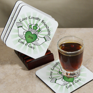 Personalized Claddaugh Coaster Set cheap favors
