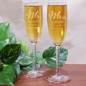 Mr. and Mrs. Personalized Wedding Toasting Flutes cheap favors