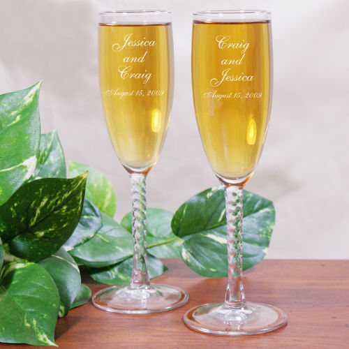 Wedding Couple Personalized Wedding Toasting Flutes cheap favors