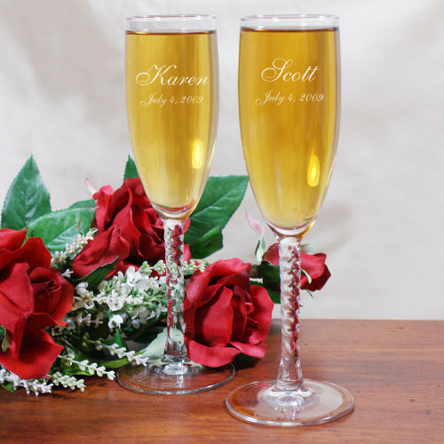 Personalized Wedding Toasting Flutes cheap favors