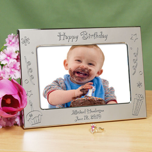 Engraved Picture Frames Wedding Favors : Engraved Happy Birthday Silver Picture Frame wedding favors