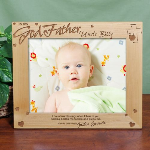 Engraved Picture Frames Wedding Favors : Engraved Godparent Wood Picture Frame wedding favors