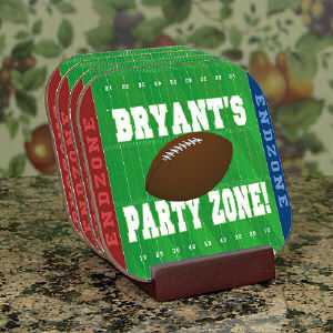 Football Party Zone Personalized Coaster Set cheap favors