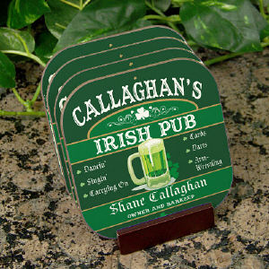 Irish Pub Personalized Coaster Set cheap favors