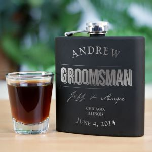 Engraved Groomsmen Steel Flask cheap favors