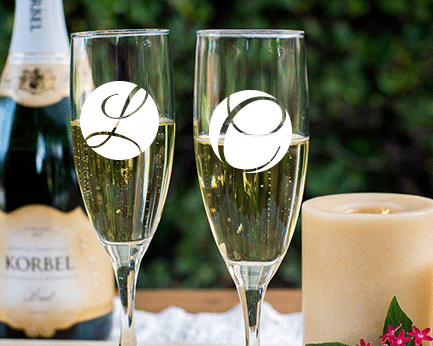 Personalized Engraved Outline Monogram Champagne Flute cheap favors