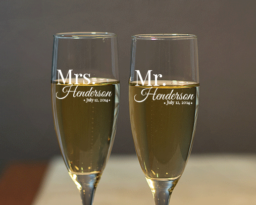 Personalized Mr. and Mrs. Engraved Champagne Flute Set cheap favors