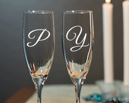 Personalized Engraved Monogram Champagne Flute cheap favors