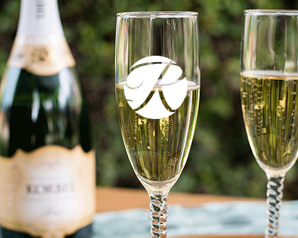 Personalized Engraved Outline Monogram Champagne Flute with Twisted Stem cheap favors